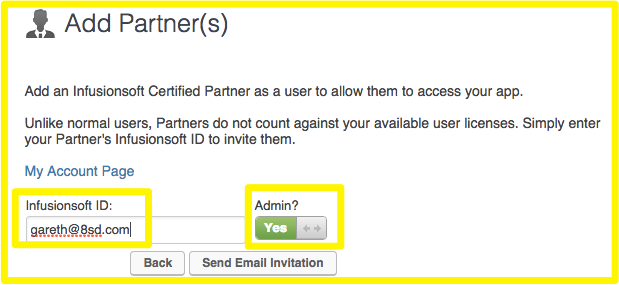 Add Partner Infusionsoft ID and Admin